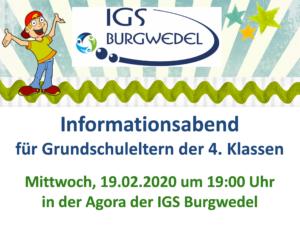 Informationsabend für Grundschuleltern der 4. Klassen – 19.02.20 um 19:00 Uhr