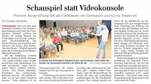 Pressestimmen: Bürgerstiftung Burgwedel organisiert Theater für Fünftklässler