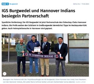 Pressestimmen: IGS Burgwedel und Hannover Indians besiegeln Partnerschaft