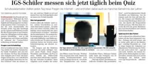 Presse: Schulen geschlossen: IGS Burgwedel misst sich täglich im Online-Quiz