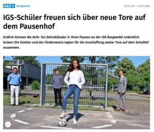 Presse: IGS Schüler freuen sich über neue Tore auf dem Pausenhof