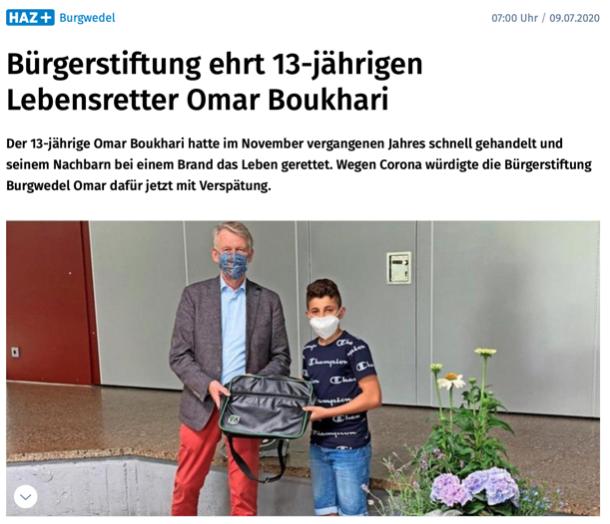 Presse: Ehrung für Omar Boukhari