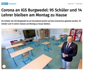 Presse: Corona an IGS Burgwedel: 95 Schüler und 14 Lehrer bleiben am Montag zu Hause
