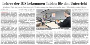 Presse: Lehrer der IGS bekommen Tablets für den Unterricht