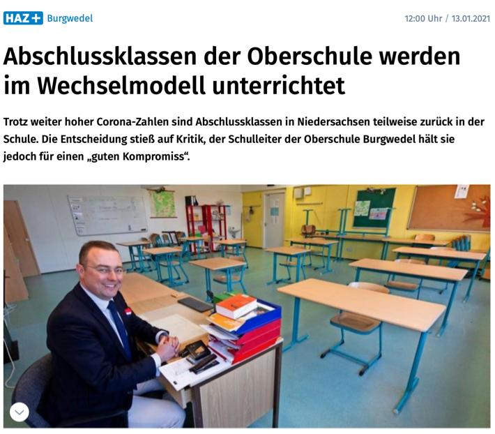 """Presse: """"Abschlussklassen der Oberschule werden im Wechselmodell unterrichtet"""""""